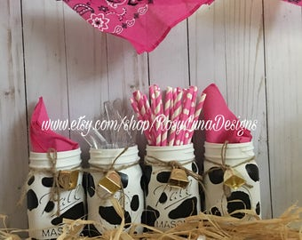 Black and white cow mason jars with a cow bell, barn themed birthday party, cow jar centerpiece, desk decor, mason jar vase
