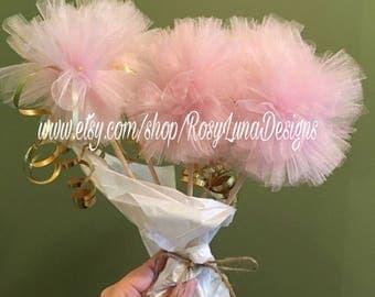 pom pom sticks with gold curling ribbon, birthday party decorations, baby shower decor