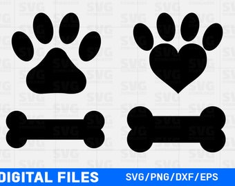 Paw Print SVG Cutting Files, Dog Bone SVG, Paw Print Heart