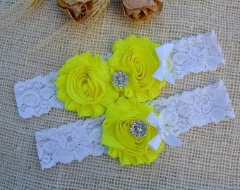 Garter Set, Yellow Garter, Bridal Clothing Yellow, Garters Yellow, Garter For Brides, Romantic Garter, Lace Garter Set, Yellow Keep Garter
