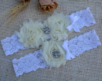 ivory Wedding Garter, White Ivory Garter , Bridal Garter Set, White Lace Garter, Keep Garters, Shabby Ivory Garter, Elegant Wedding Garter