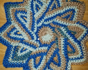 Free Shipping, Star Flower Crochet Hot Pad, Hotpad, Pot Holder, Trivet, Star Flower trivet, Flower hot pad