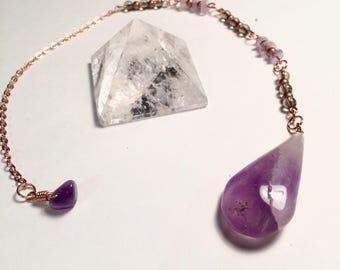 Amethyst & Smokey Quartz Crystal Pendulum