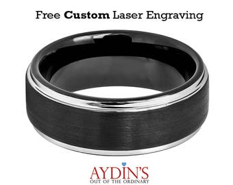 Two tone Black IP Brushed Center & Steel Color Stepped Edge 8mm Tungsten Carbide Wedding Ring