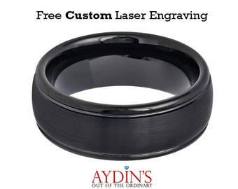 Domed Black IP Brushed Center High Polished Grooved Edge 8mm Tungsten Carbide Wedding Ring