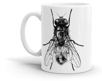 House Fly Coffee Mug - Entomology Drawing, Insect, Vintage, Retro, Cool Gift