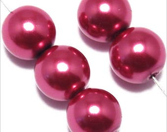 20 pearls 10mm raspberry red Bohemian glass