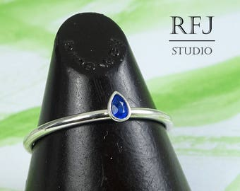 Pear Cut Synthetic Sapphire Silver Ring, Stacking September Birthstone Sapphire Ring Teardrop Blue Stone 3x2 mm Tiny 925 Silver Ring