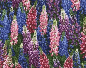 Floral Fabric:  Timeless Treasures Nature Lupine Flowers Premium Nature C4948 Lupine 100% cotton Fabric by the yard   (TT142)