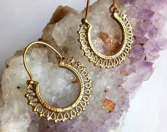 Small Hoop Earrings, Tribal unique design, Tribal Brass Earrings, Brass Earrings, Boho Earrings. Gypsy Earrings. Ethnic Earrings. Hoop brass