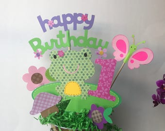 Frog centerpiece, woodland animals centerpiece, safari animals party centerpiece, woodland animals themed party, 1st birthday