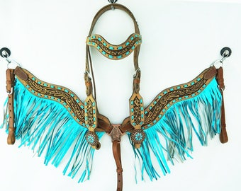 Metallic Turquoise Fringe Buck stitch Hand Tooled Barrel Racer Leather Headstall Western Horse Trail Bridle Breast Collar Plate Set