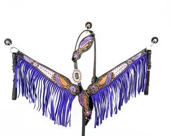 Handmade Western Barrel Trail Horse One Ear Bridle Breast Collar Leather Purple Fringe Headstall Tack Set