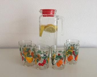 Juice glasses + jug -  6 lovely small juice glasses fifites sixties glasses and glass jug retro mid century