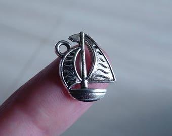 Boat Charm, Sailboat Charm, Ship Charm, Charms for Bracelet, Nautical Charm, Silver Tone Ocean Charm, 2 Side Necklace Pendant, Sea Charm