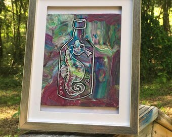 Seahorse in a bottle, original art surrounded by 5x7 frame