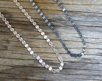 Sterling silver textured disc chain SOLD BY FOOT. Oxidized silver chain or bright silver chain - your choice.