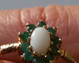 Delicate emerald and opal gold ring