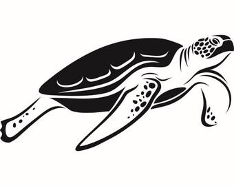 Turtle #2 Sea Tortoise Ocean Hatchling Polynesian Reptile Animal Zoo Tattoo Logo .SVG .EPS .PNG Digital Clipart Vector Cricut Cut Cutting