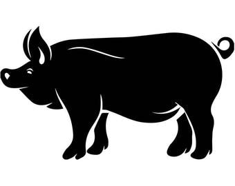 Pig #2 Pork Farm Animal Hog Grill Grilling Meat Barbecue Butcher Cooking Cook Out Chef Food Restaurant Logo.SVG .EPS Cricut Cut Cutting File
