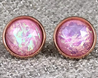 Pink Fire Opal Earrings - Bridesmaid Gift - Opal Earrings - Faux Opal - Stud Earrings - Fire Opal Jewelry - Earrings for Bridesmaids - Pink