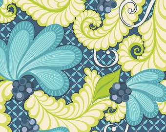 1 yard Feather Scroll Turquoise from Feathers and Flourishes from Amanda Murphy for Contempo fabrics