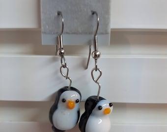 earrings, penguin earrings, dangle earrings, drop earrings, funky jewellery, penguin, jewellery, penguin jewellery, gift, christmas