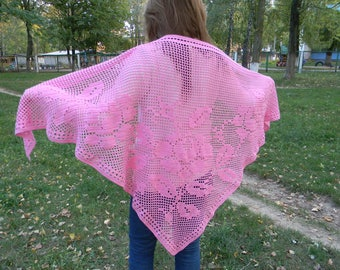 Bridal knit shawl Wedding Crochet pink rose shawl anniversary gifts summer lace shawl for bridesmaid evening shawl mother's day gift