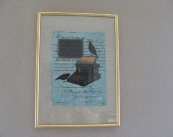 Vintage gold applied linen flax crows and old typewriter frame