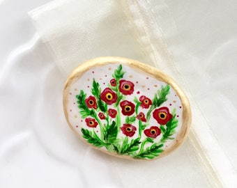 Poppy Brooch - Hand Painted Floral Polymer Clay Brooch