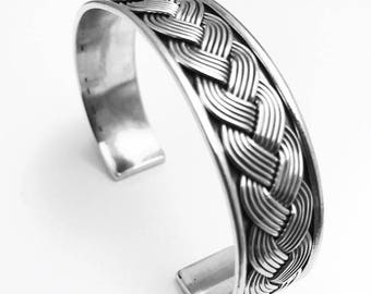 Sterling Silver Bangle - Oxidised Heavy Cuff Bangle With A Plait Design