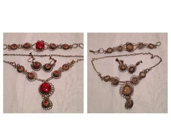 On Sale Vintage Silver With Red Accent Stone Set