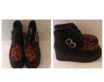 Anniversary Sale Vintage 80's Black and Leopard Print Wedges