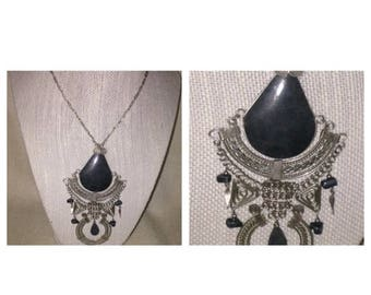 Anniversary Sale Awesome Silvertone and Black Statement Necklace