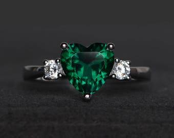engagement ring emerald ring green gemstone ring heart cut gemstone May birthstone
