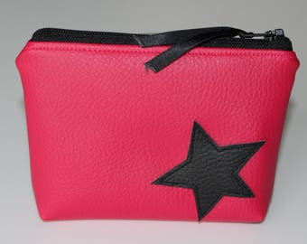 Wallet / card in pink faux leather and Black Star