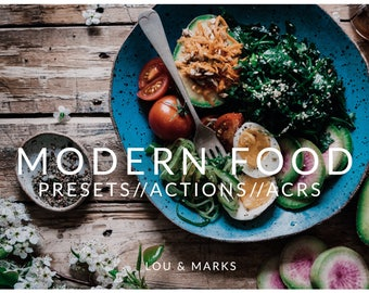 Modern Food Pack for Lightroom & Photoshop Actions, Presets, ACRs for Bright Portrait and Modern Wedding Edits in Adobe Lightroom Photoshop