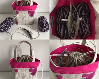 TAAT Sock Knitting bag, Two at a time project bag, knitting bag, Divider Bag, Crochet Bag, Yarn Bag, WIP bag, Italian Cable Knit Print