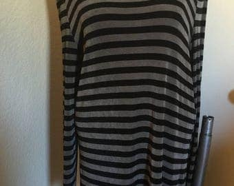 ON SALE Vintage 90s Travel Knit Striped Tunic Top Minidress Grunge Goth