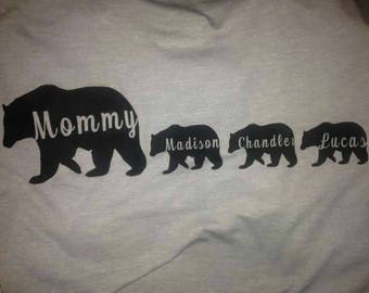 Personalized Mommy Bear Shirt With Baby Bears Following With Children's Names