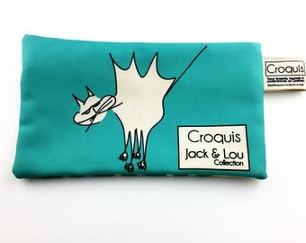 Clutch/turquoise / pouch with cat / pencil case / make-up bag / Tote / sketch fabrics