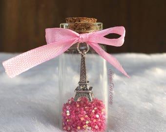 Glass bottle jewelry, vial jewelry, vial charm, vial necklace, glass bottle charm, miniature jewelry, eiffel tower charm, vial pendant, mini