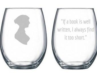 Jane Austen Gifts, Jane Austen Wine Glass, Jane Austen Quote, Jane Austen Persuasion, Jane Austen Books, stemless wine glass, Bookworm Gifts