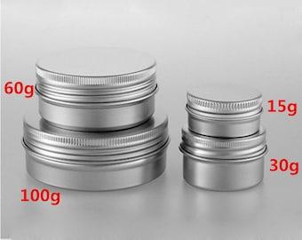 20 Pcs Aluminium Empty Cosmetic Pot Jar Tin Container Box Screw Lid Lot 15/30/60/100g