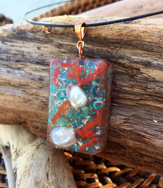 Mermaid Orgonite® Pendant- Red Coral Love Attraction Orgone Generator- Passion & Fertility Orognite® Talisman- Ocean Spirit Orgonite®