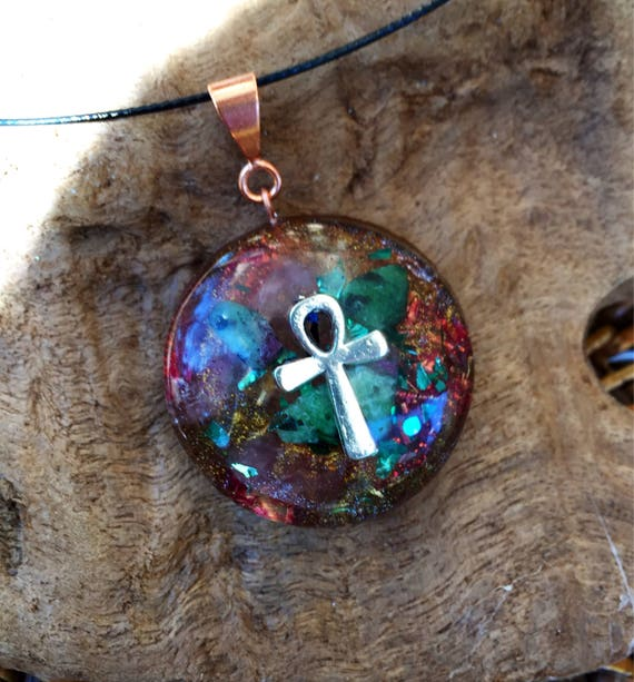 Egyptian Ankh Orgonite® Pendant- Bio Energy Enhancing Orgone Energy Necklace- Ruby in Ziosite Manifestation and Empath Protection Orgonite®