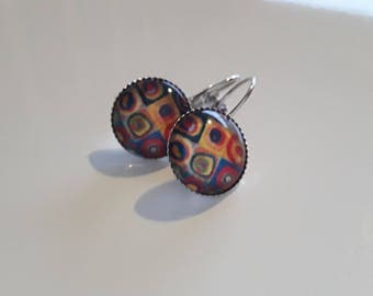 Lever back earrings silver and its modern cabochon