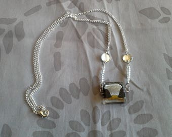 Silver Pearl and rhinestone necklace
