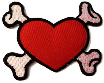 Patch/ironing-heart with bone emo-red-8.0 x 6.4 cm-fix appliqué applications for ironing application patches patch