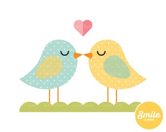 Birds Kissing Clipart Illustration for Commercial Use | 0153